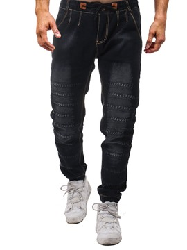 Ericdress Worn Lace-Up Mid Waist Jeans