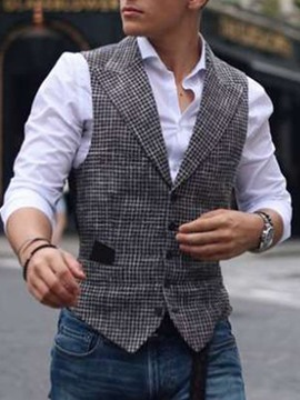 Ericdress Plaid Notched Lapel Spring European Waistcoat