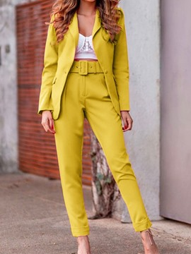 Ericdress Jacket Button Fashion One Button Pencil Pants Two Piece Sets