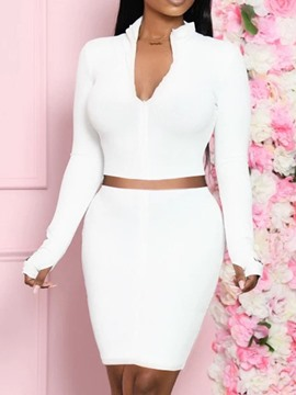 Ericdress Simple Plain Skirt Bodycon Two Piece Sets