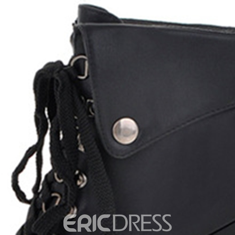 Ericdress Lace-Up Front Round Toe Plain Sweet Boots
