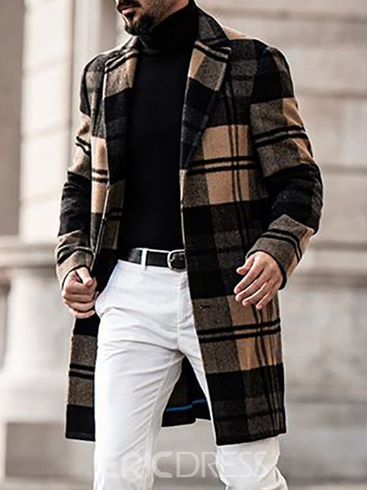 Ericdress Notched Lapel Plaid Mid-Length European Single-Breasted Coat