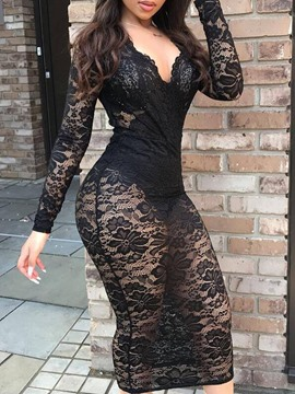 Ericdress Lace Mid-Calf Long Sleeve Pullover Mid Waist Dress