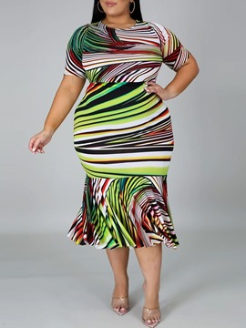 Ericdress Plus Size Mid-Calf Print Short Sleeve Fashion Regular Dress