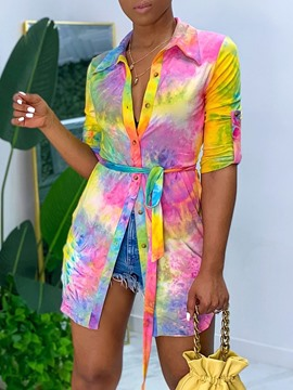 Ericdress Tie-Dye Regular Lapel Nine Points Sleeve Mid-Length Blouse