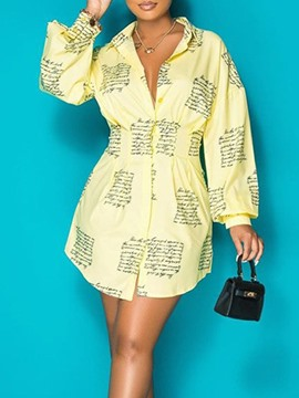 Ericdress Print Above Knee Long Sleeve A-Line Mid Waist Dress
