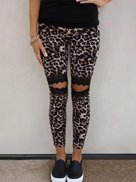 Ericdress Leopard Lace Skinny Pencil Pants Ankle Length Casual Pants
