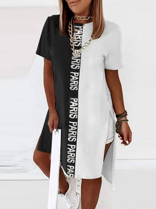 Ericdress Short Sleeve Long Color Block Western Loose T-Shirt