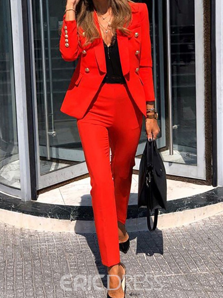 Ericdress Two-Piece Blazer Suit Button Blazer Office Lady Long Sleeve Ankle Length Suit