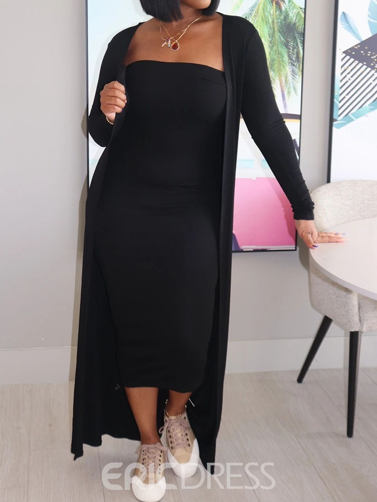 Ericdress Casual Plain Dress Bodycon Two Piece Sets