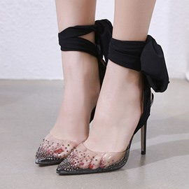 Ericdress Pointed Toe Rhinestone Stiletto Heel Banquet Thin Shoes
