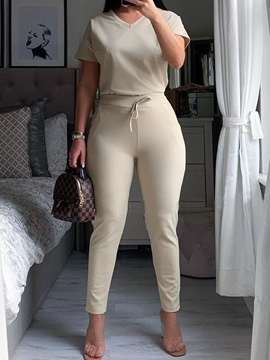 Ericdress T-Shirt Casual Lace-Up Pullover Pencil Pants Two Piece Sets