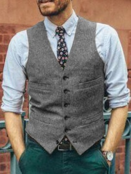 Ericdress Plain V-Neck Fall Single-Breasted Men's Waistcoat