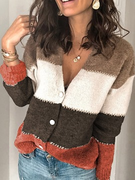 Ericdress Single-Breasted Thin Regular V-Neck Long Sleeve Sweater