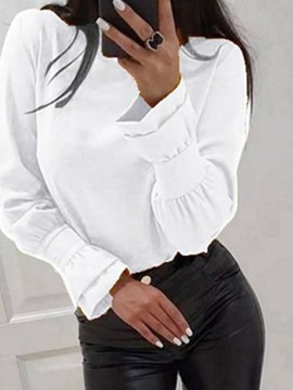 Ericdress Patchwork Plain Standard Long Sleeve Slim Blouse