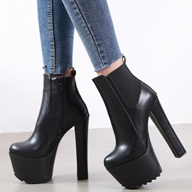 Ericdress Round Toe Patchwork Chunky Heel Simple Boots