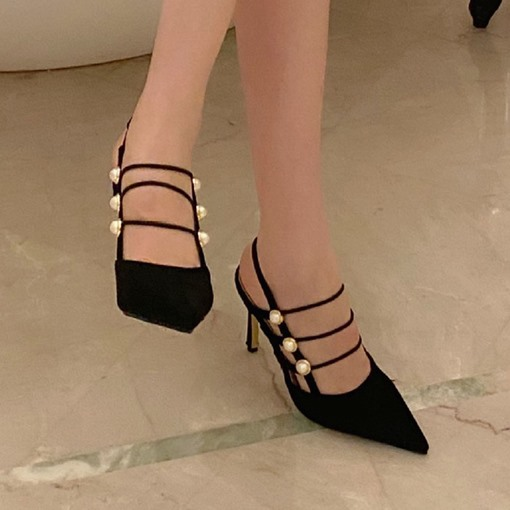 Ericdress Pointed Toe Strappy Stiletto Heel Professional Sandals
