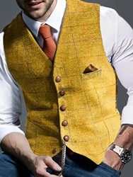 Ericdress Plaid V-Neck Single-Breasted European Waistcoat  - buy with discount