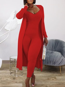 Ericdress Fashion Jumpsuit Plain V-Neck Pencil Pants Two Piece Sets