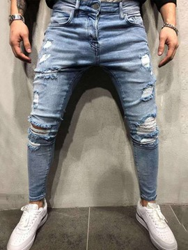 Ericdress Plain Hole Pencil Pants Casual Zipper Men's Jeans