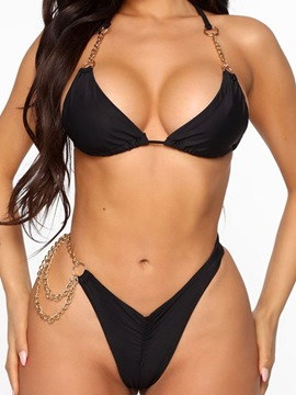 Ericdress Plain Chain Bikini Set Swimwear