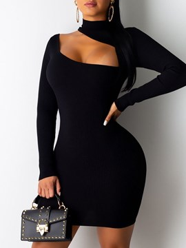 Ericdress Stand Collar Long Sleeve Above Knee Plain Bodycon Dress