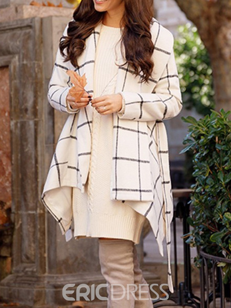 Ericdress Slim Lace-Up Asymmetric Fall Mid-Length Overcoat