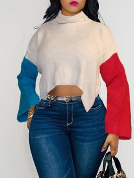 Ericdress Patchwork Flare Sleeve Loose Turtleneck Sweater