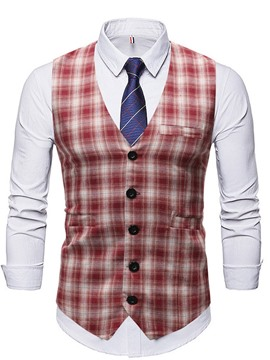 Ericdress V-Neck Plaid OL Fall Waistcoat