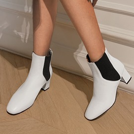Ericdress Chunky Heel Slip-On Square Toe Short Floss Boots