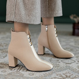 Ericdress Chunky Heel Side Zipper Square Toe Short Floss Boots