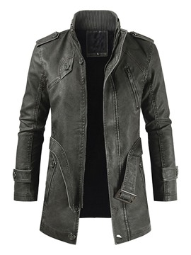 Ericdress Plain Stand Collar Mid-Length Fall Slim Leather Jacket