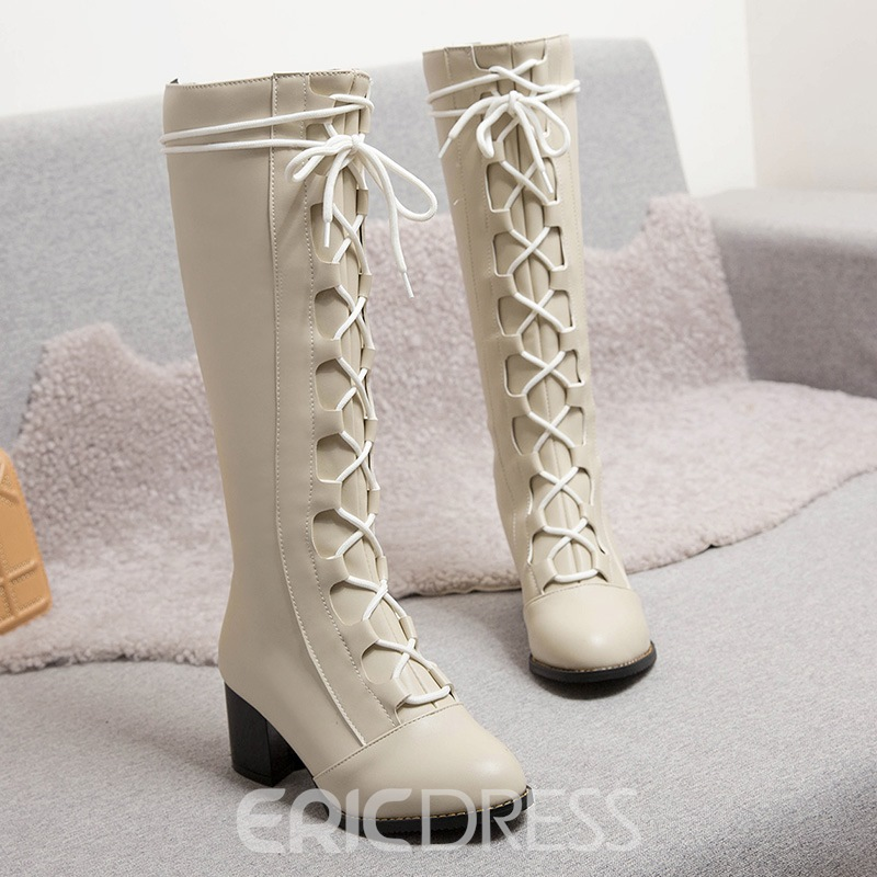 Ericdress Back Zip Chunky Heel Patchwork Thread Boots