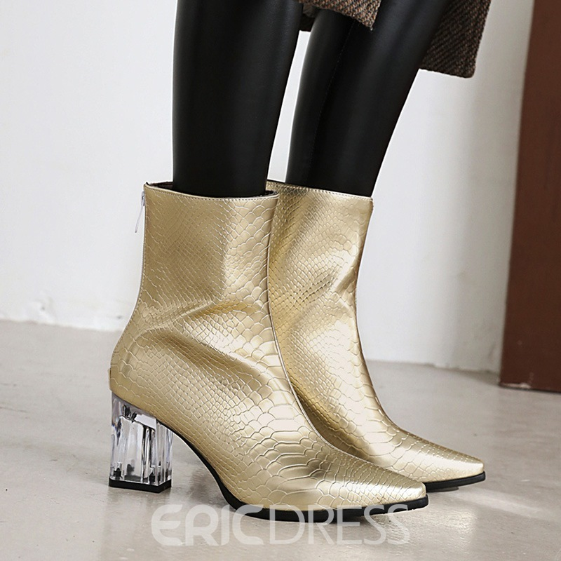 Ericdress Pointed Toe Chunky Heel Plain Professional Boots