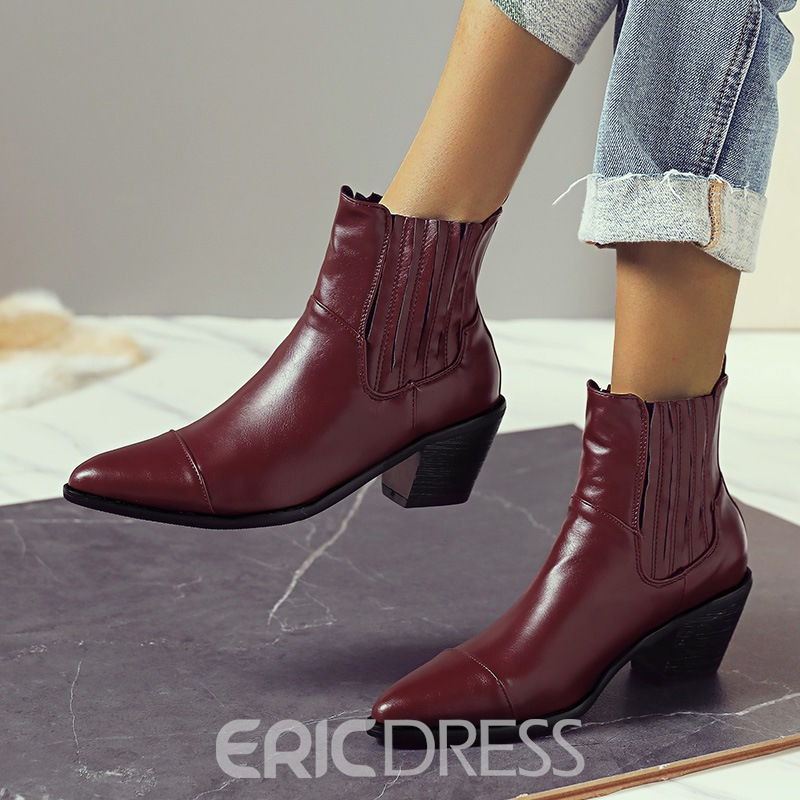 Ericdress Pointed Toe Slip-On Plain Professional Boots