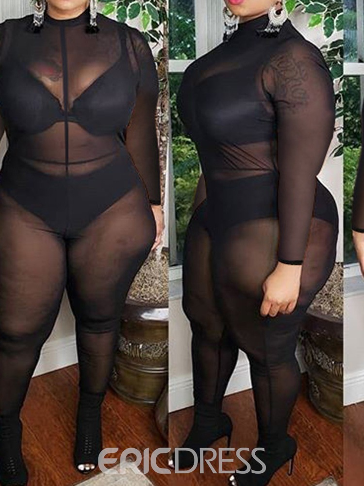 Ericdress Full Length See-Through Sexy Pencil Pants Skinny Jumpsuit