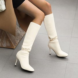 Ericdress Stiletto Heel Square Toe Slip-On Short Floss Boots