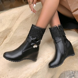 Ericdress Plain Round Toe Side Zipper Sweet Boots