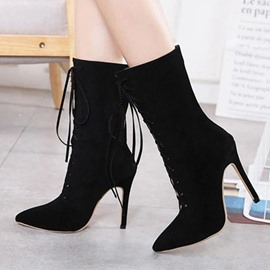 Ericdress Stiletto Heel Plain Pointed Toe Short Floss Boots