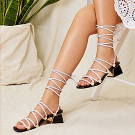 Ericdress Open Toe Strappy Lace-Up Casual Sandals