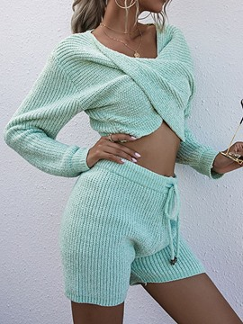 Ericdress Lace-Up Plain Sexy Pullover Straight Two Piece Sets
