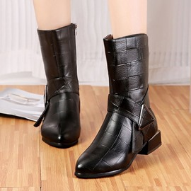 Ericdress Block Heel Side Zipper Round Toe PU Boots