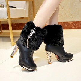 Ericdress Patchwork Slip-On Round Toe Sweet Boots