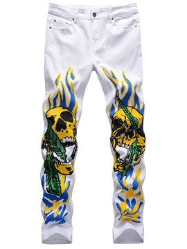 Ericdress Print Straight Skull Mid Waist Four Seasons Casual Pants