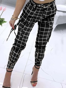 Ericdress Zipper Slim Plaid Ankle Length Pencil Pants Casual Pants