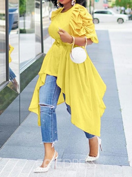 Ericdress Round Neck Pleated Heap Sleeve Half Sleeve Long Blouse