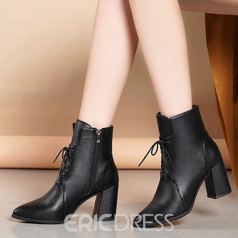 Ericdress Plain Chunky Heel Pointed Toe Simple Boots