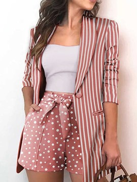 Ericdress Shorts Pocket Polka Dots One Button Straight Two Piece Sets
