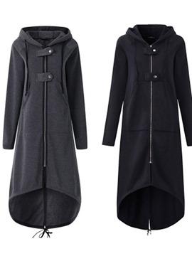 Ericdress Regular Asymmetric Plain Long Fall Hoodie