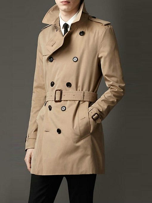 Ericdress Lapel Plain Mid-Length European Slim Trench Coat